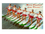 Merry Christmas from Florida, Water Skiers Print