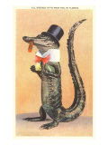 Alligator in Top Hat Print