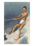 Barefoot Water Skier, Cypress Gardens, Florida Giclée-Premiumdruck
