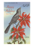 Happy Holidays from Florida, Mocking Bird, Poinsettias Posters