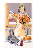 Woman Making Waffles, Art Deco Prints