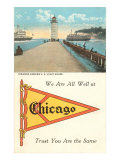 Lighthouse, Pennant, Chicago, Illinois Posters