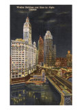 Wrigley Building at Night, Chicago, Illinois Posters