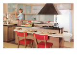 Kitchen with Breakfast Bar Island Posters