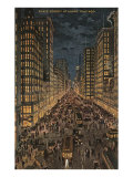 State Street at Night, Chicago, Illinois Poster