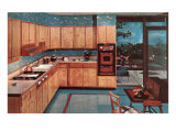 Kitchen with Wooden Cabinets Print