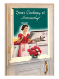 Your Cooking is Heavenly, Woman Reading Cookbook Premium Giclée-tryk
