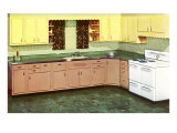 Kitchen with Green Formica Counters Posters