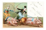 Clowns with Pig-Drawn Chariots Prints