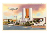 Federal Building, Dirigible, Chicago World's Fair Poster