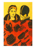 Two Ladies with Small Appliance Motifs Poster