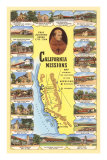 Carte des missions de Californie Posters
