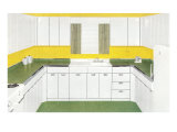 Kitchen with White Metal Cabinets Print