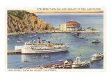 Paquebots à quai et casino, Catalina, Californie Posters