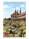 Casino and Parasols, Santa Cruz, California Poster