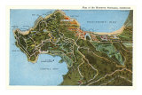 Map of Monterey Peninsula, California Posters