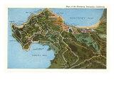 Karte von Monterey Peninsula, Kalifornien Giclée-Premiumdruck