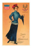 Woman In Blue, State of Connecticut Posters