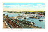 Docks on Pequonnock River, Bridgeport, Connecticut Posters