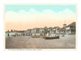 Cottages and Beach, Sound View, Connecticut Posters