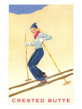 Lady Skier at Crested Butte, Colorado Poster