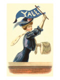 Woman in Blue with Yale Pennant Posters