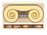 Capitello dorico e pesci, arte decorativa Poster