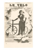 Le Velo, Girl with Wooden Bicycle Posters