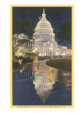 Night, Capitol, Washington D.C. Posters