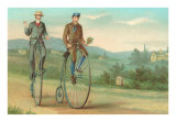 Two Men on Penny-Farthings Poster