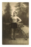 Muscular Man with Bicycle Prints