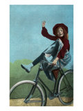 Girl Trick Riding on Bicycle Schilderij