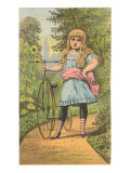 Girl with Penny-Farthing, Illustration Posters