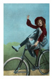 Girl Trick Riding on Bicycle Prints