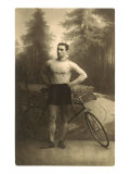 Muscular Man with Bicycle Poster
