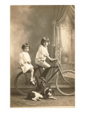 Two Girls with Bicycle and Dog Posters