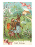 Easter Greetings, Spectacled Rabbit in Dress Posters