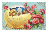 Easter Greeting, Chicks in Egg Prints