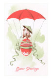 Easter Greetings, Chick in Egg Balloon, Pre-Matted Print