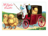Joyful Easter, Chicks in Coach Posters
