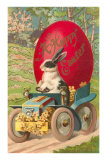 Happy Easter, Rabbit Driving Tractor Print