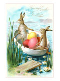 Loving Easter Greetings, Rabbits in Rowboat Poster