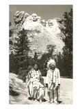 Indians in front of Mt. Rushmore, South Dakota Posters