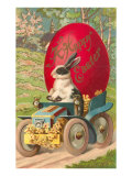 Happy Easter, Rabbit Driving Tractor Posters
