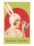 Happy Easter, Woman with Rabbit Headdress Poster