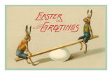 Easter Greetings, Rabbits on Seesaw Print