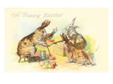 Happy Easter, Rabbit Paining Eggs Print