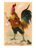 Easter Greetings, Rooster Smoking Posters