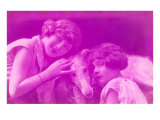 Purple, Two Girls with Dog Posters
