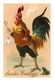 Easter Greetings, Rooster Smoking Prints